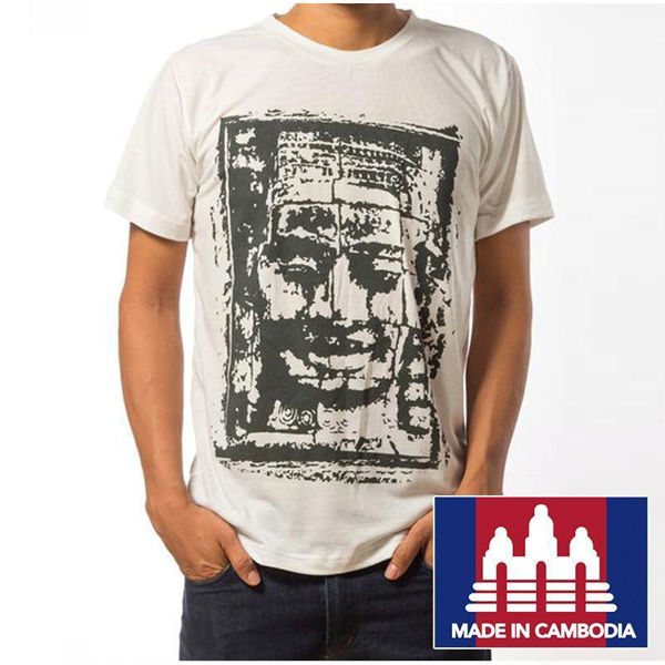 Picture of Bayon Face T-Shirt, White, Size Small