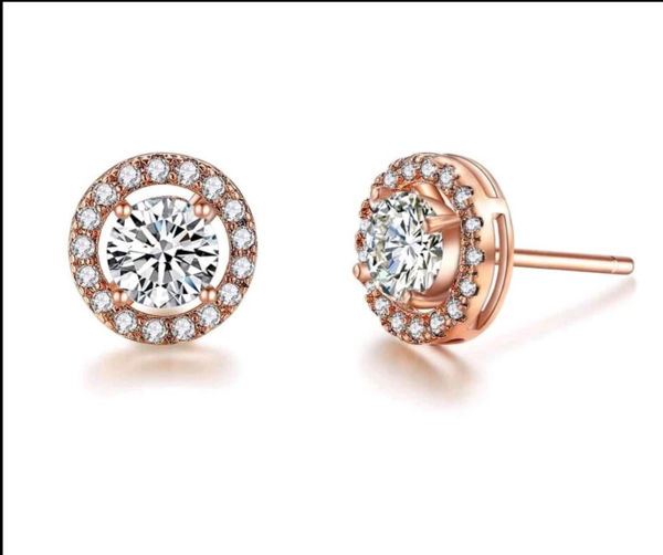 Picture of Mary Gems Diamond Earrings -Rose Gold